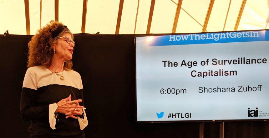Shoshana Zuboff speaking at the How The Light Gets In Festival, London, September 2019